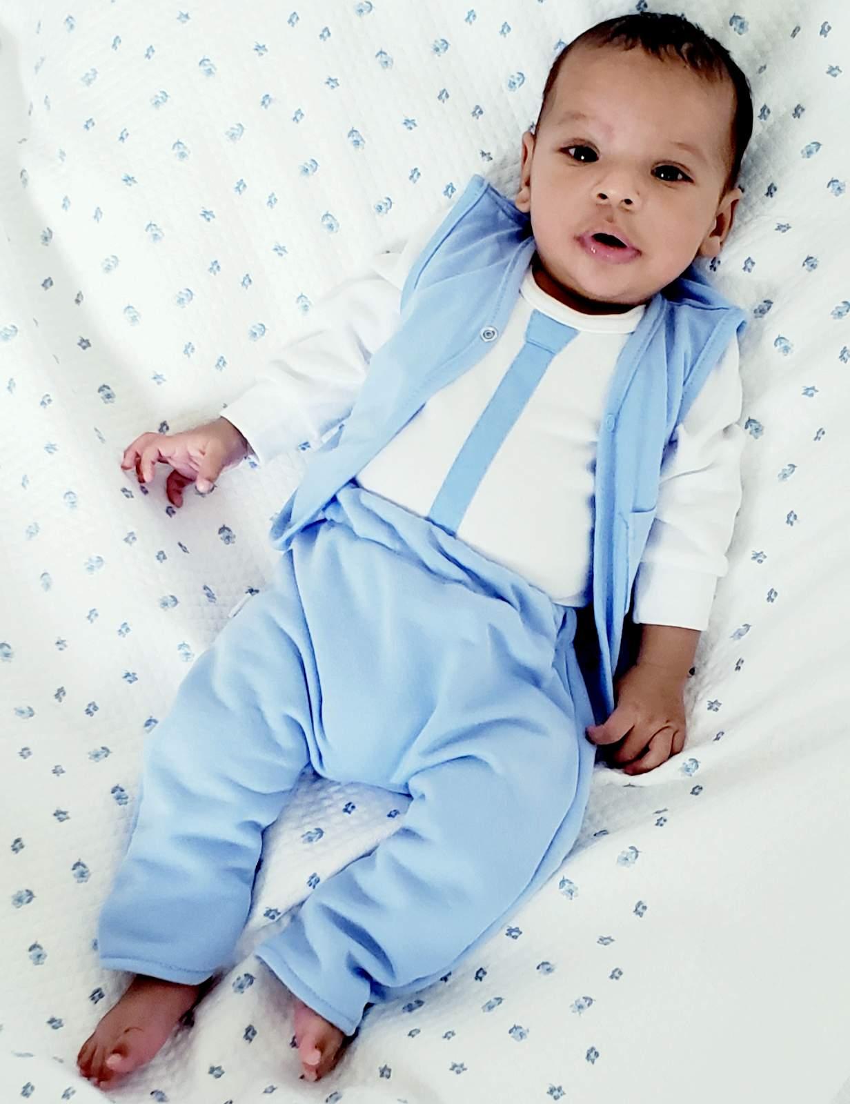 14996ab8c74da Niebieskie ubranko do chrztu dla chłopca Krystian  NoNiNo